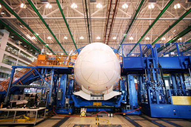 A Boeing Dreamliner 787 sits on the production line at the company's final assembly facility in North Charleston, S.C.
