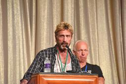 John McAfee speaks at Def Con 2014.