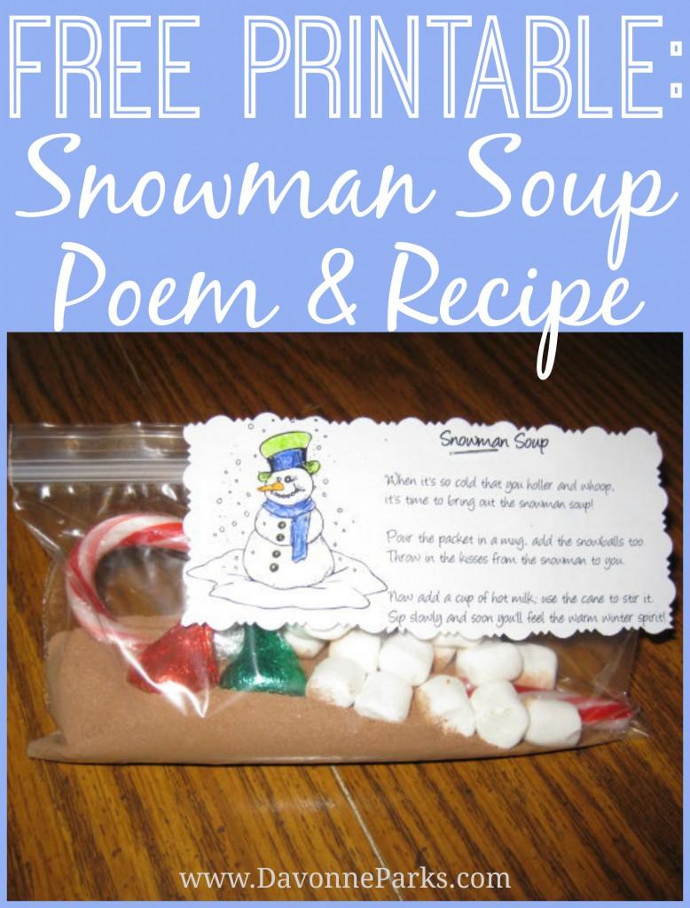 photograph about Snowman Soup Printable Tag titled No cost Snowman Soup Poem Printable - Davonne Parks