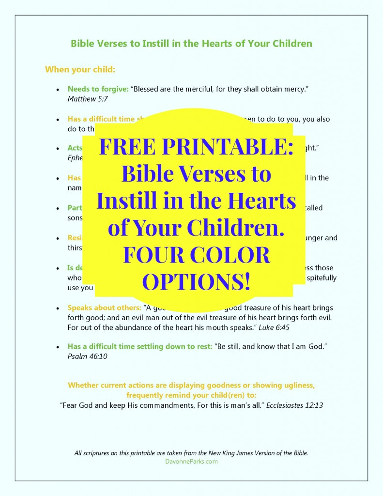 photograph about Free Printable Bible Verses titled Totally free Printable - Bible verses in the direction of instill inside of the hearts of