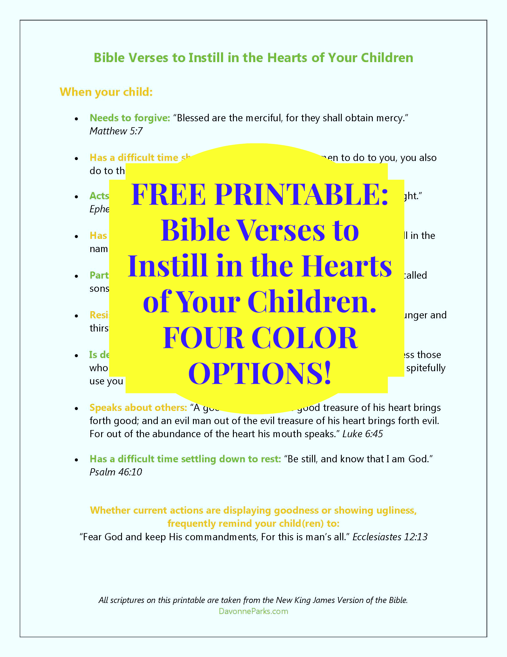 FREE Printable - Bible verses to instill in the hearts of ...