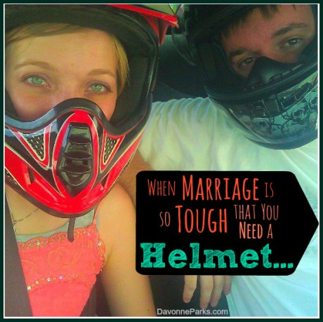 When marriage is so tough that you need a helmet... an incredibly touching and inspiring story that highlights one couple's journey from hardship to great joy. I literally cheered with them during the canoe story in the final paragraphs!
