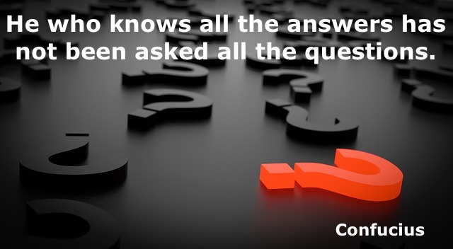 question marks and a quote