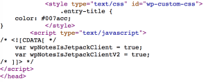 CSS code applied inside the style tag in the head
