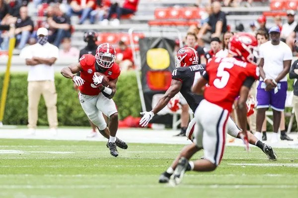 Georgia running back Zamir White (3) during the G-Day scrimmage on Dooley Field at Sanford Stadium in Athens, Ga., on Saturday, April 17, 2021. (Photo by Tony Walsh)