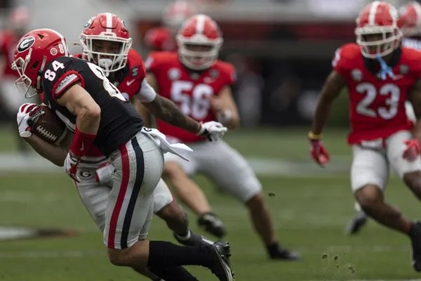 Georgia wide receiver Ladd McConkey (84) during G-Day on Dooley Field at Sanford Stadium in Athens, Ga., on Saturday, April 17, 2021. (Photo by Mackenzie Miles)