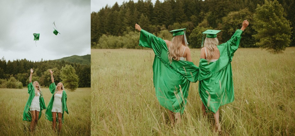 seniors in green caps and gowns