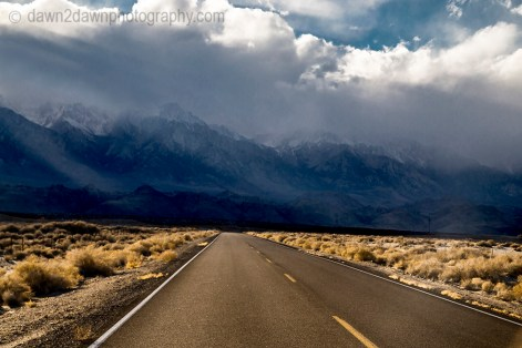 A passing storm drops fresh snow on the Sierras Nevadas at Owens Valley in Eastern California