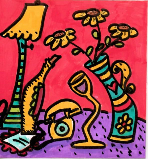 Yellow Phone and Wine Glass