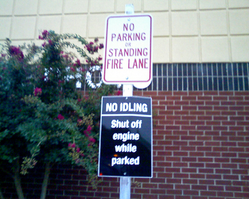 No parking but turn off your engines while parked. Huh?