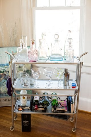 Restored Vintage Bar Cart & Staged by Dawn D Totty Designs