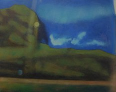 Through thick glass, hill in Glasgow, 12:30 P.M., oil on panel, 24 X 30