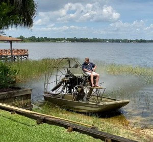 Airboat on the shore