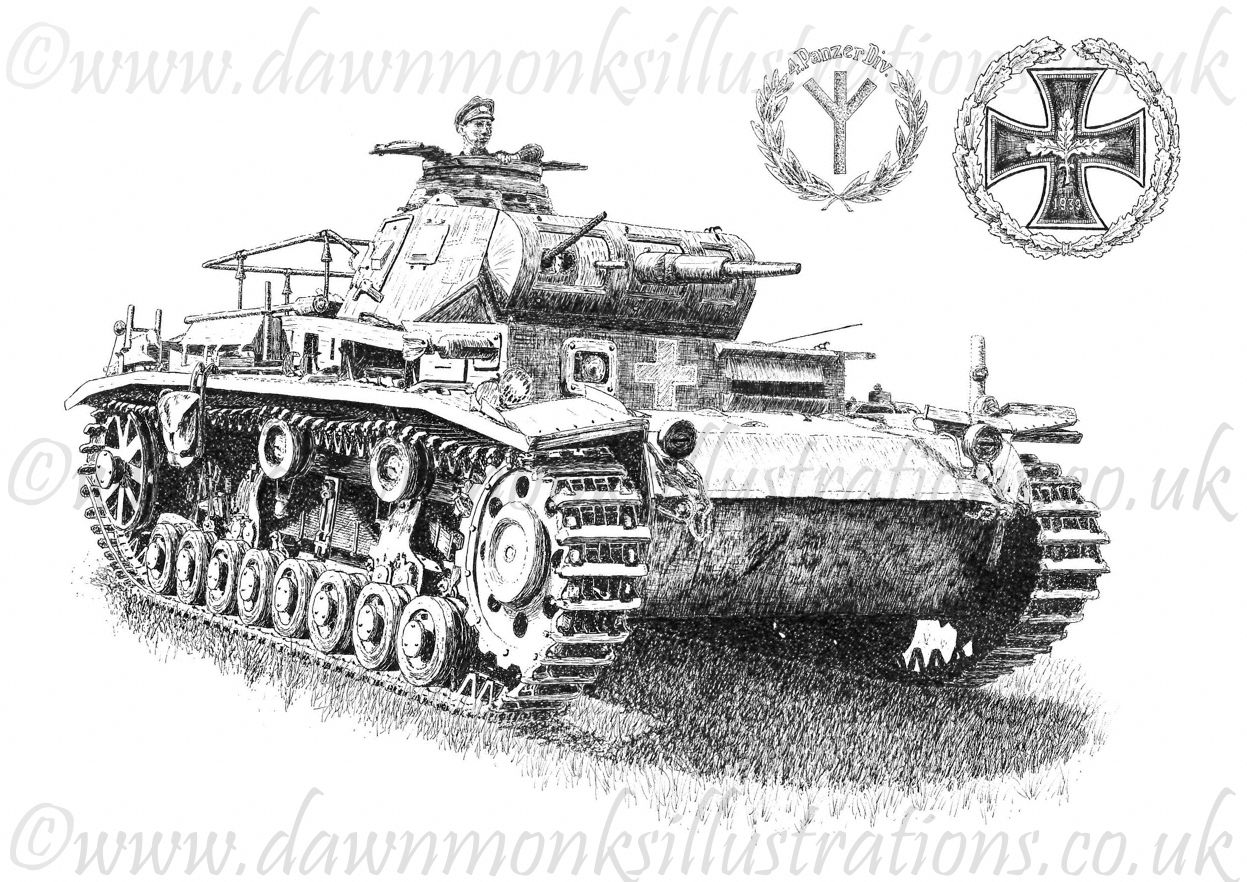 Panzer Iii Original Pen Amp Ink Drawing Signed By Panzer