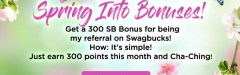 Get 300 bonus SB when you sign up for Swagbucks in June…
