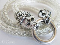 Silver Viking Knit chain with lion-head end caps and spring-gate clasp