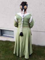 Rear view of the green silk Italian gown and hat