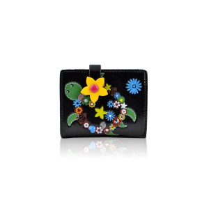 Flower Turtle Purse Black