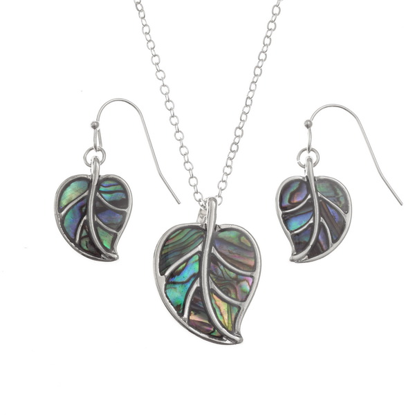 "inlaid Paua shell leaf pendant on 18"" trace chain and matching hook earring set"