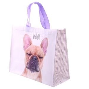 Fun French Bulldog Design Durable Reusable Shopping Bag