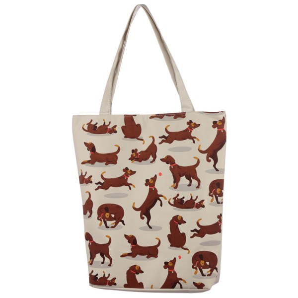 Handy Cotton Zip Up Shopping Bag - Catch Patch Dog Design