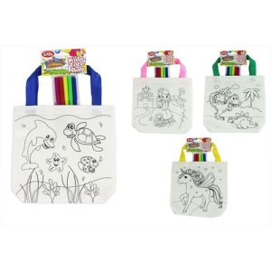 KIDS COLOURING TOTE BAG WITH PENS