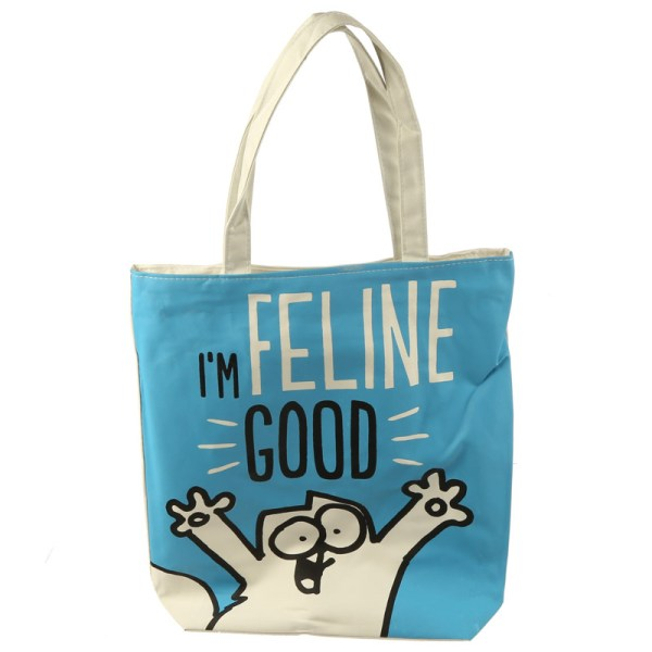 Handy Cotton Zip Up Shopping Bag – Simon's Cat I'm Feline Fine