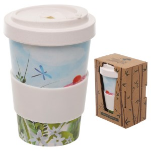 Bamboo Eco Friendly Botanical Gardens Screw Top Travel Mug