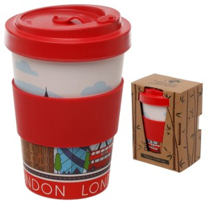 Bamboo Eco Friendly London Design Screw Top Travel Mug