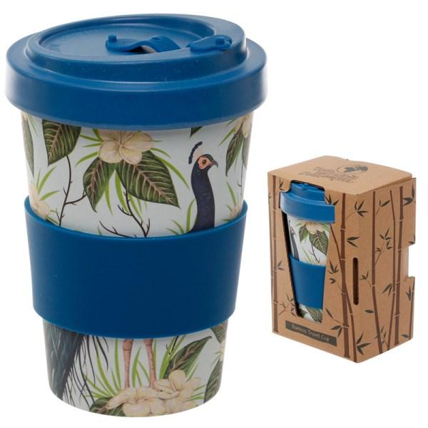 Bamboo Eco Friendly Peacock Design Screw Top Travel Mug