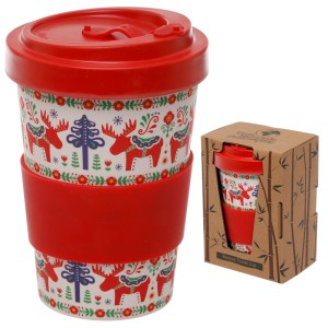 Bamboo Eco Friendly Scandi Design Screw Top Travel Mug