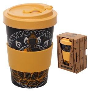 Bamboo Eco Friendly Thai Buddha Design Screw Top Travel Mug