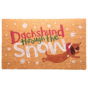 Coir Door Mat - Dachshund Through the Snow Christmas Design
