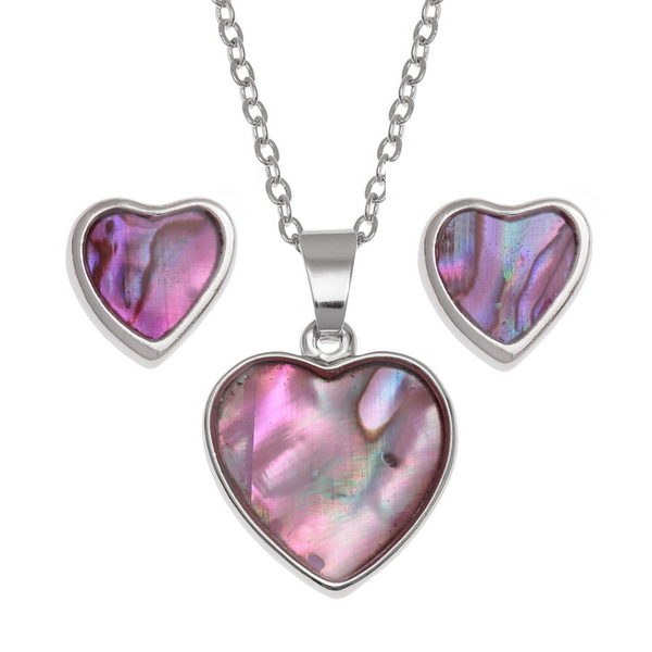 "Tide Jewellery inlaid pink Paua shell Heart pendant, on 18"" trace chain and matching stud earring set"