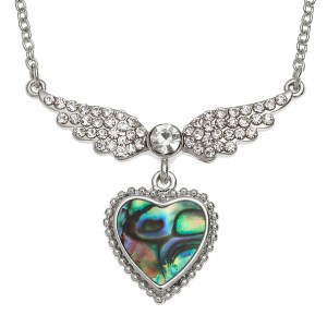 Inlaid Paua shell inset stone winged heart necklace