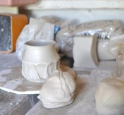 block of clay-wedged clay-thrown cups