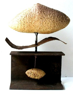 """In the Balance"" 2009 Wheelthrown & Manipulated Ceramic, Volcanic Glaze, copper wire, drill bit, metal"