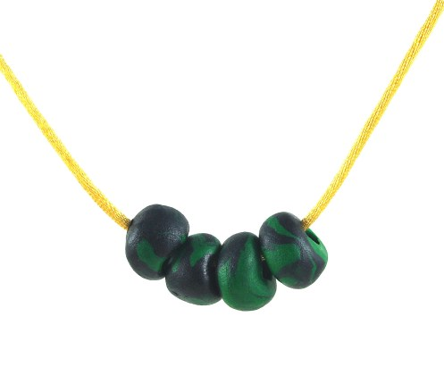 DeeDeeSupplies black green polymer clay beads_004