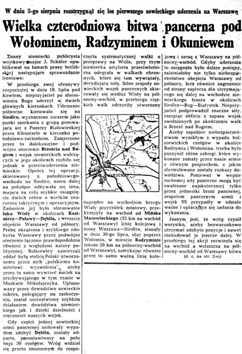 W dniu 3-go sierpnia rozstrzygnął się los pierwszego sowieckiego uderzenia na Warszawę