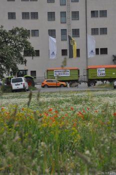 Entlang der Devrientstraße fahren rund hundert Traktoren am Donnerstag Morgen zur Demo vorm Landtag gegen den Ausverkauf der regionalen Landwirtschaft. Foto: Una Giesecke