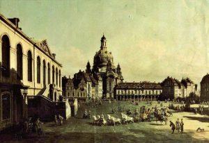 Canalettoblick aus dem Dinglingerhaus zur Frauenkirche, um 1746 Foto: PR