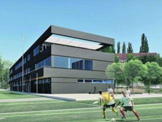 Im Sportpark entsteht bis 2019 ein modernes Zentrum für den Nachwuchs. Visualisierung: O+M