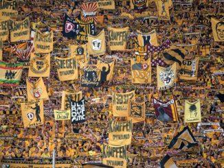 Dresdens Fans unterstützen ihr Team. Foto: Thomas Eisenhuth/Archiv