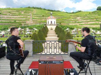 Musik und Wein – beides kann man jetzt jeden Sonntag bei gutem Wetter auf Schloss Wackerbarth genießen kann. Foto: PR