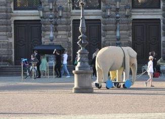 """Eine Elefantenfigur wird über den Theaterplatz gezogen - sie gehört zum Theaterstück der Bürgerbühne """"Die Stunde da wir nichts voneinander wußten"""". Foto: Una Giesecke"""
