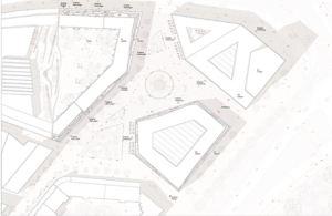 Draufsicht auf die Platzgestaltung hinter der Karstadt-Freitreppe (li.)   Plan: Barcode Architects