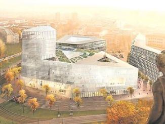 Die Sieger-Visualisierung spielt mit dem bekannten Blick 1945 vom Rathaus auf das zerstörte Dresdner Zentrum. Visualisierung: Barcode Architects