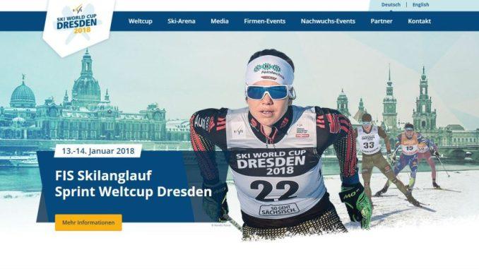 Ab heute ist die Homepage für den Skiweltcup in Dresden freigeschaltet. Screenshot: Una Giesecke