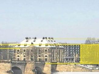Damit auch das Dach der Dreikönigskirche von der Brühlschen Terrasse aus noch zu sehen ist, sollen Gebäude unter der Dachlinie des Blockhauses bleiben. Visualisierung: Stadtverwaltung