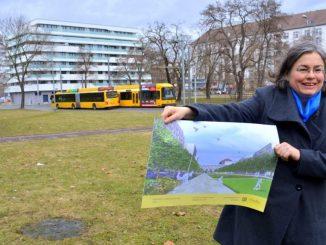 Eva Jähnigen, Dresdens Umweltbürgermeisterin, zeigt die neuen Pläne für den Promenaden-Ring im Zentrum. (Foto: Thessa Wolf)